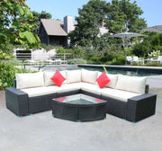 Panana 7 Piece Large Outdoor Garden Yard Furnitures set Patio PE Rattan Wicker Sofa with Coffee Table Sectional Set
