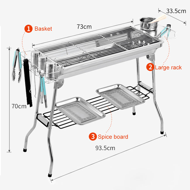 Outdoor Stainless Steel Charcoal Grill Barbecue Portable