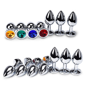 steel butt plug with gem colors and sizes