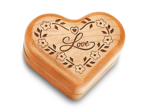 "Top View of a Music Box 3"" Heart with laser engraved image of Love & Flowers"