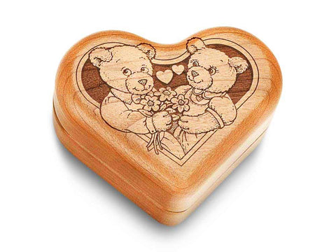 "Top View of a Music Box 3"" Heart with laser engraved image of Teddies in Love"