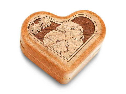 "Top View of a Music Box 3"" Heart with laser engraved image of Pups"