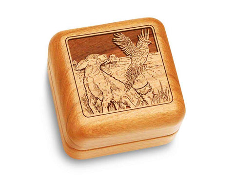 "Top View of a Music Box 2 1/2"" Square with laser engraved image of Dogs & Pheasant"