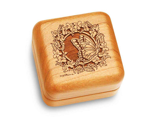 "Top View of a Music Box 2 1/2"" Square with laser engraved image of Butterfly Wreath"