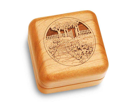 "Top View of a Music Box 2 1/2"" Square with laser engraved image of Garden Gate"