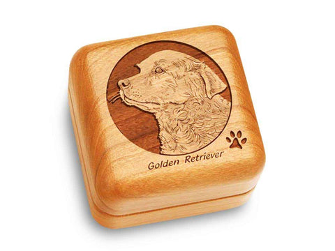 "Top View of a Music Box 2 1/2"" Square with laser engraved image of Golden Retriever"