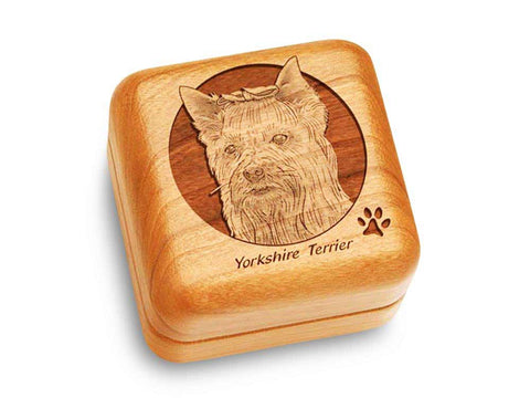 "Top View of a Music Box 2 1/2"" Square with laser engraved image of Yorkshire Terrier"