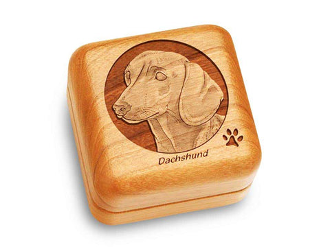 "Top View of a Music Box 2 1/2"" Square with laser engraved image of Dachshund"