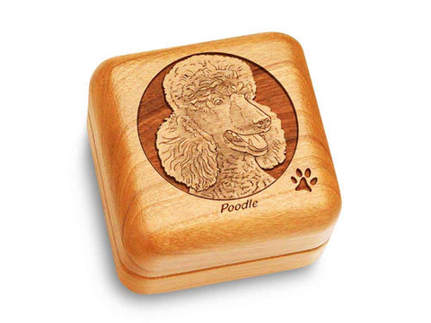 "Top View of a Music Box 2 1/2"" Square with laser engraved image of Poodle"