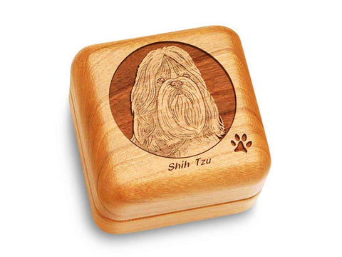 "Top View of a Music Box 2 1/2"" Square with laser engraved image of Shih Tzu"