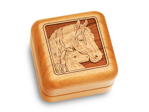 "Top View of a Music Box 2 1/2"" Square with laser engraved image of Horses"