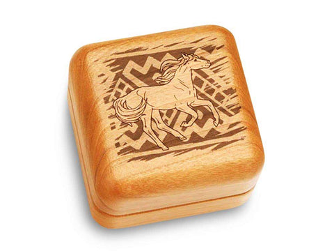 "Top View of a Music Box 2 1/2"" Square with laser engraved image of Horse/Pattern"