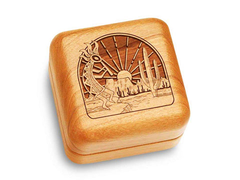 "Top View of a Music Box 2 1/2"" Square with laser engraved image of Kokopelli"