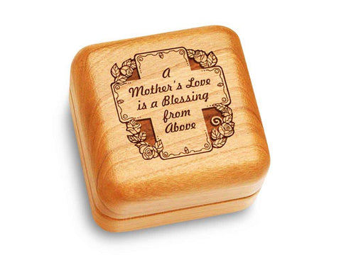 "Top View of a Music Box 2 1/2"" Square with laser engraved image of Mother's Love"