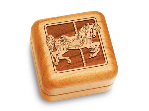 "Top View of a Music Box 2 1/2"" Square with laser engraved image of Carousel Horse"
