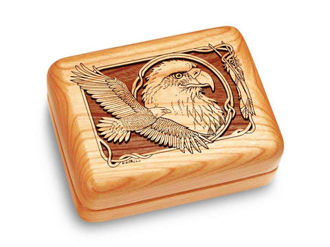 "Top View of a Music Box 4x3"" with laser engraved image of Eagle Soaring"