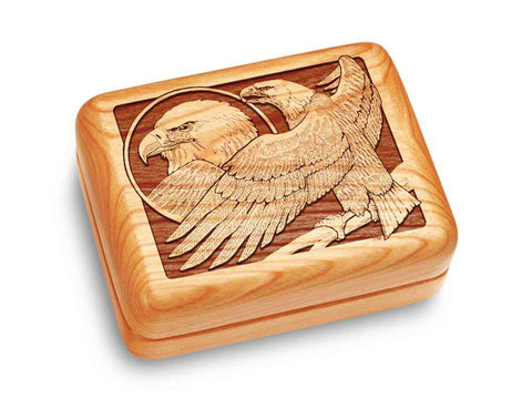 "Top View of a Music Box 4x3"" with laser engraved image of Eagle Perched"