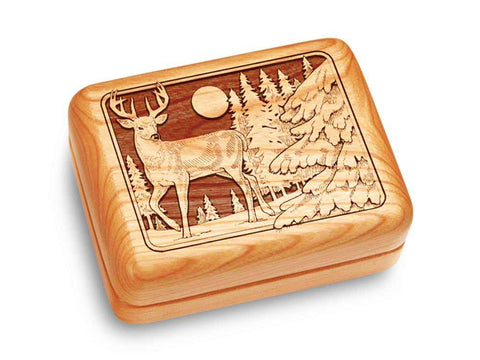 "Top View of a Music Box 4x3"" with laser engraved image of Deer"
