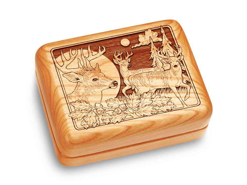 "Top View of a Music Box 4x3"" with laser engraved image of Deer/Bucks"