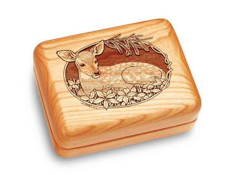 "Top View of a Music Box 4x3"" with laser engraved image of Fawn"
