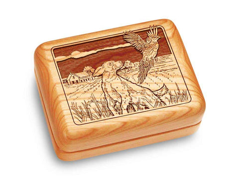 "Top View of a Music Box 4x3"" with laser engraved image of Dogs & Pheasant"
