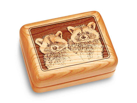 "Top View of a Music Box 4x3"" with laser engraved image of Raccoons"
