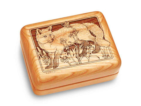 "Top View of a Music Box 4x3"" with laser engraved image of Fox & Flowers"
