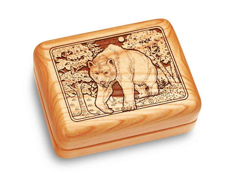 "Top View of a Music Box 4x3"" with laser engraved image of Bear/Woods"