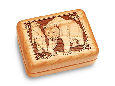 "Top View of a Music Box 4x3"" with laser engraved image of Bear/Paw"