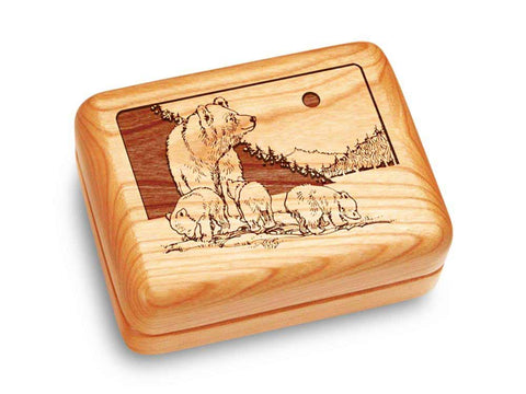 "Top View of a Music Box 4x3"" with laser engraved image of Bear & Cub"