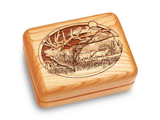 "Top View of a Music Box 4x3"" with laser engraved image of Elk & Mountain"