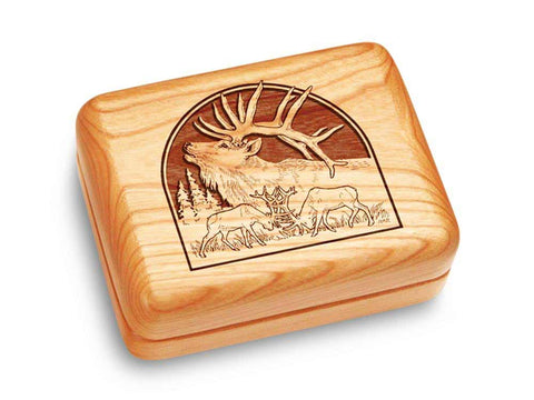 "Top View of a Music Box 4x3"" with laser engraved image of Elk"