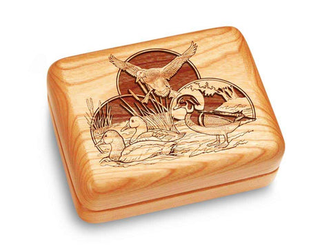 "Top View of a Music Box 4x3"" with laser engraved image of Duck Collage"