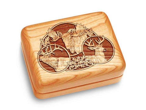 "Top View of a Music Box 4x3"" with laser engraved image of Big Game"