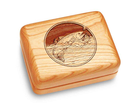 "Top View of a Music Box 4x3"" with laser engraved image of Trout"