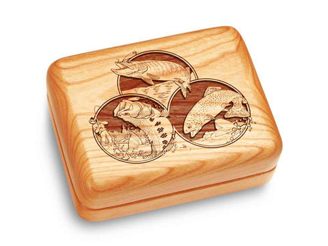"Top View of a Music Box 4x3"" with laser engraved image of Fishing"