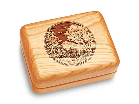 "Top View of a Music Box 4x3"" with laser engraved image of Mountain Scene"