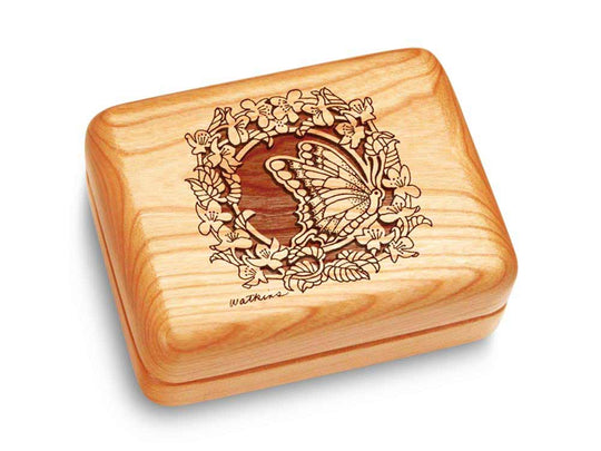 "Top View of a Music Box 4x3"" with laser engraved image of Butterfly Wreath"