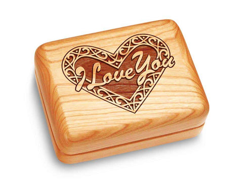 "Top View of a Music Box 4x3"" with laser engraved image of Heart - I Love You"