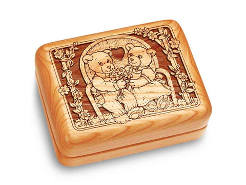 "Top View of a Music Box 4x3"" with laser engraved image of Teddies in Love"
