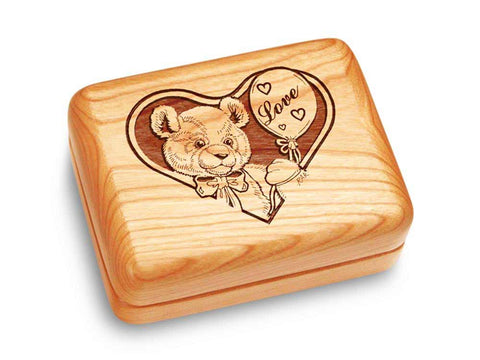 "Top View of a Music Box 4x3"" with laser engraved image of Teddy Bear in Love"