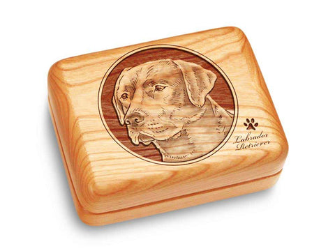 "Top View of a Music Box 4x3"" with laser engraved image of Labrador Retriever"