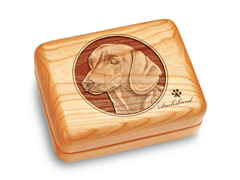 "Top View of a Music Box 4x3"" with laser engraved image of Dachshund"