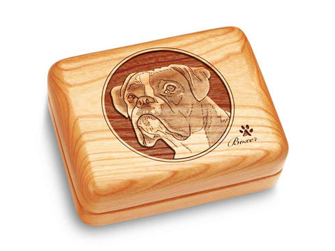 "Top View of a Music Box 4x3"" with laser engraved image of Boxer"