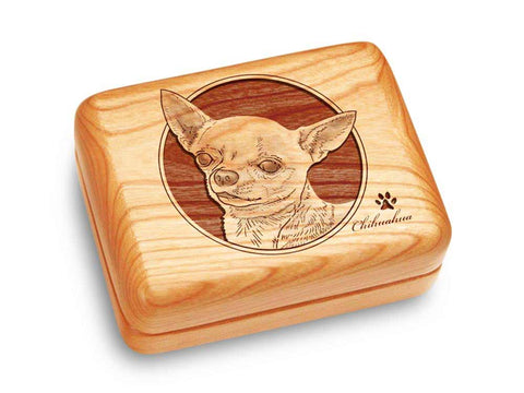 "Top View of a Music Box 4x3"" with laser engraved image of Chihuahua"