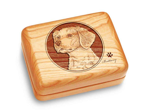 "Top View of a Music Box 4x3"" with laser engraved image of Brittany"