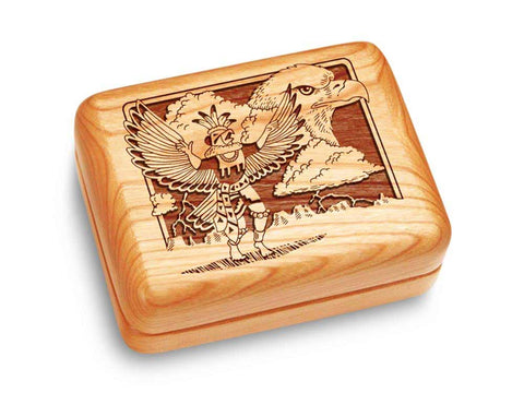 "Top View of a Music Box 4x3"" with laser engraved image of Kachina & Eagle"
