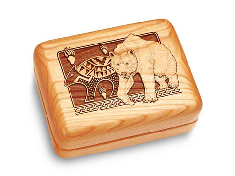 "Top View of a Music Box 4x3"" with laser engraved image of Petroglyphs Bear"