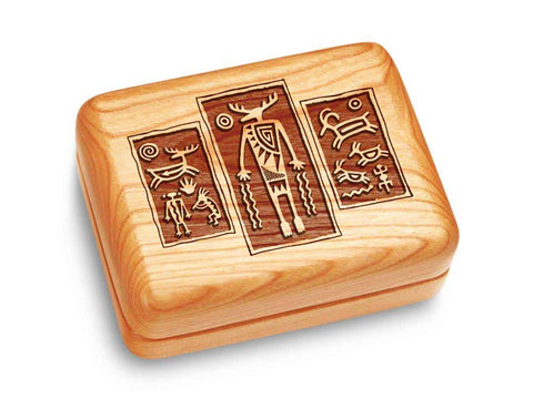 "Top View of a Music Box 4x3"" with laser engraved image of Petroglyph Triptych"
