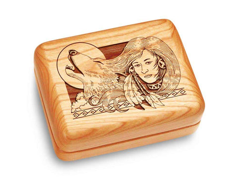 "Top View of a Music Box 4x3"" with laser engraved image of Wolf Maiden"